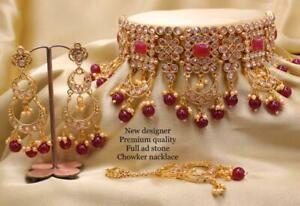 Gold Plated Indian Bollywood Choker AD Bridal Fashion Jewelry Necklace Jhumka SZ