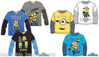 Boys DESPICABLE Me MINIONS Long Sleeve CHARACTER TOP T- Shirt 5 6 7 8 9 10 11 12