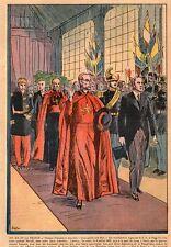 PARIS GARE DE LYON ARRIVEE DE PIE XII  DELBOS RELIGION IMAGE 1939 OLD PRINT