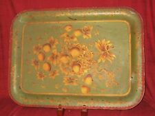 Antique Toleware Tray Green w/ Gilded Decoration