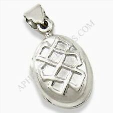 Locket Pendant Necklace Opens Up! Celtic Knot .925 Sterling Silver Oval
