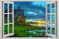 Cabin Sunset 3D Window View Decal WALL STICKER Decor Art Mural Scenic View Lake