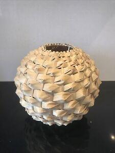 Woven Bamboo Natural Pendant Light Shade Rattan Vintage Tiki Boho