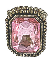 Pink Rhinestone Ring Pageant Glamour Statement Jewelry Stretch Band  R12352