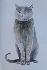 "Cat portrait John Kilduff Watercolor 30"" x  22"""