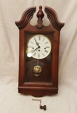 HOWARD MILLER KEY-WIND WALL CLOCK WINDSOR CHERRY FINISH MODEL 620-132 GOOD COND