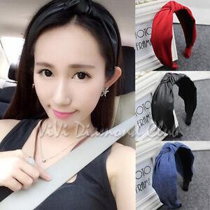 Fashion Korean Style Faux Leather Denim Twist Bow Knot Hair Ribbon Wrap Headband