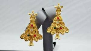 Christmas Tree Clip On Earrings - Goldtone with Red and Green Crystals