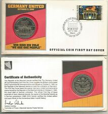 1990 Germany United Marshall Islands $5 Medal / First Day Cover