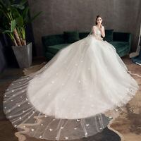Crystal Beaded Luxury with Long Train Wedding Dress Bridal Gown Plus Size