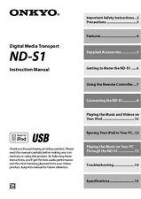 Onkyo ND-S1 Digital Media Transport Owners Manual