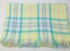 Vintage Carson Pirie Scott Baby Blanket Yellow Blue Pink Plaid Fringe Italy
