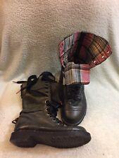 Dr. Martens Triumph Boots Plaid Foldover Combat Boots Size UK 6 US 8L