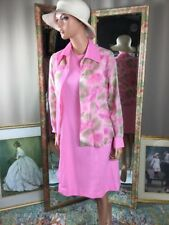 Vintage 1970S Pink Tank Dress W Sheer Floral Blouse Sz 14 Perfect Retro Baby