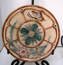 Vintage French Stylized Majolica Flower & Butterfly Plate