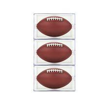 (3) BallQube Football Holder Sports Memorabilia Display Case Box