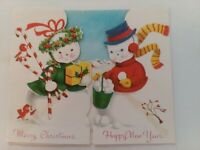 1950s Vtg SNOWMAN & SNOW LADY Multi Fold SNOW COUPLES CHRISTMAS GREETING CARD