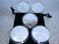 5 Wild West 1 oz Fine Silver Rounds with Capsule and Coin Pouches