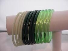 Vintage Lucite Spacers Bangle Bracelets  Shades of Green  Translucent 1960s