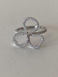 Tiffany Paper Flowers Diamond Open Flower Ring Size 6.75