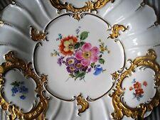 Meissen esplendor cáscara plato placa ramo de flores multicolor oro bronce 1924 1. elección