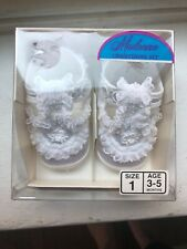 New Vintage Lullaby Baby Shoes Madonna Christening Soft Bottom Shoes Size 1