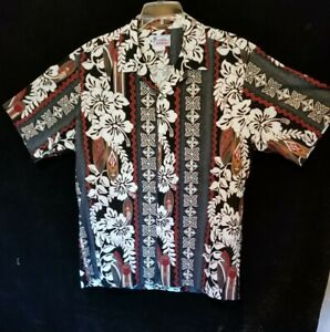Mens Hawaiian Floral Short Sleeve Casual Shirt Size L by Hawaii