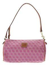 Dooney & Bourke Small Barrel Canvas and Leather Handbag- Pink DB Logo - 140630