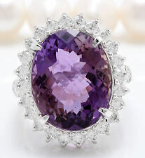 16.53CTW Natural Purple Amethyst & Diamonds in 14K Solid White Gold Women Ring