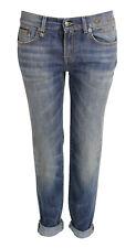 R13 DENIM Straight Boy Jeans  mittelblau verwaschen Trummer Blue GR. 27 NEU