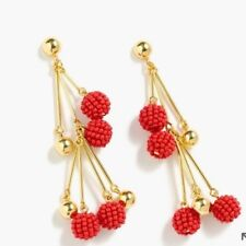 New$58 vibrant flame With J.Crew Bag! J.Crew Beaded Drop Earrings! Sold Out!