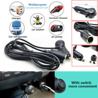12V Male - Female Car Cigarette Lighter w/ Light Switch Extension Cord 3M Cable
