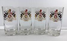 "Seagram Distillers 5"" Bar Glasses Barware Collectible Gold Foil Logo Set of 4"