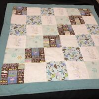 """Handmade Patchwork Baby Lap Quilt Embroidered Ducks 33"""" Square Blue Blocks"""