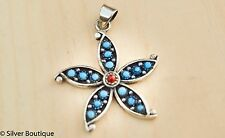 """Turquoise Starfish Pendant Sterling Silver Purity .925 Handmade India Length1.5"""""""