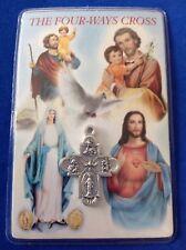 Rare Devotion 4-Way Cross Medal Holy Card Mary Jesus Christopher Joseph