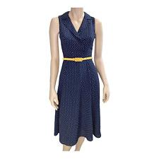 REVIEW Dress sz 6 Navy Yellow Polka Dot Fit Flare Retro Rockabilly with Belt I17