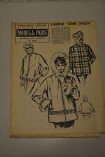 """"""" MODES de PARIS """" PATRON SUPPL. DU N°624 // L'ANORAK """"BONNE CHALEUR"""" TAILLE 44"""