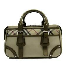 Auth BURBERRY Check Handbag Beige/Brown Canvas/Leather - h24808a