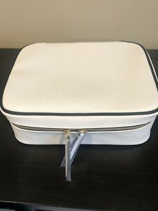 Estee Lauder White Faux Leather Cosmetic Makeup Bag Case With Cinch Bag Liner