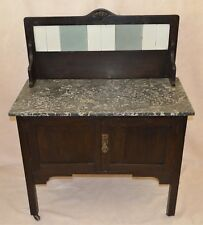 ANTIQUE ENGLISH WASHSTAND CABINET KITCHEN RUSTIC FARM CONSOLE CART MARBLE TOP