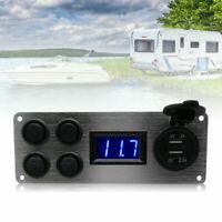 12V-24V Campervan RV Camper Car Boat Switch Panel Lights Voltmeter Dual USB Alu
