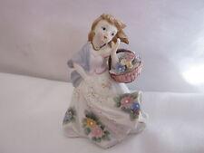 Vintage Lefton Girl W. Basket Figurine