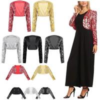 Women Sequin Jacket Stage Shiny Dance Wear Open Front Bolero Cropped Shrug Tops
