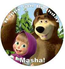 """Masha And The Bear Personalised Cake Topper 7.5"""" Edible Wafer Paper"""