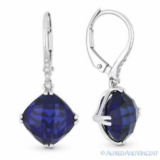 7.10ct Cushion Cut Lab Sapphire & Diamond 14k White Gold Dangling Drop Earrings