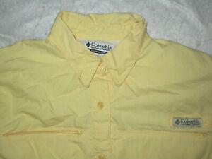 COLUMBIA PFG WOMEN'S L/S VENTED BUTTON SHIRT YELLOW PL PETITE LARGE COTTON USED