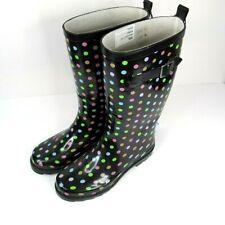 Mudi Luxe Size 7 Polka Dot Rain Boots Mid-Calf Waterproof Rubber Garden - Nwt