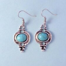 Style Vintage Look Earrings Wire Usa Turquoise Round Stone Drop Silver Southwest