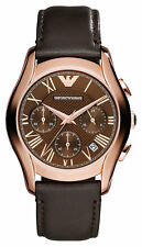 Emporio Armani AR1707 Brown Leather Strap Rose Gold Mens Designer Watch